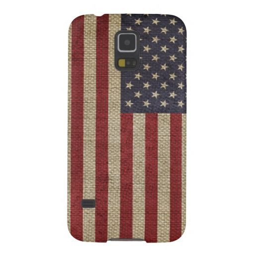 Cool trendy America flag burlap texture Case For Galaxy S5