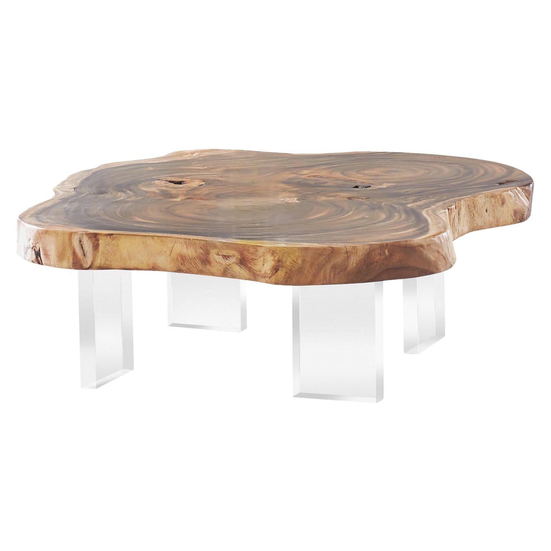 Chamcha Wood Coffee Table Acrylic Legs Contemporary Transitional Organic Acrylic Wood Coffee Cocktail Organic Coffee Table Coffee Table Wood Coffee Table [ 1540 x 1540 Pixel ]