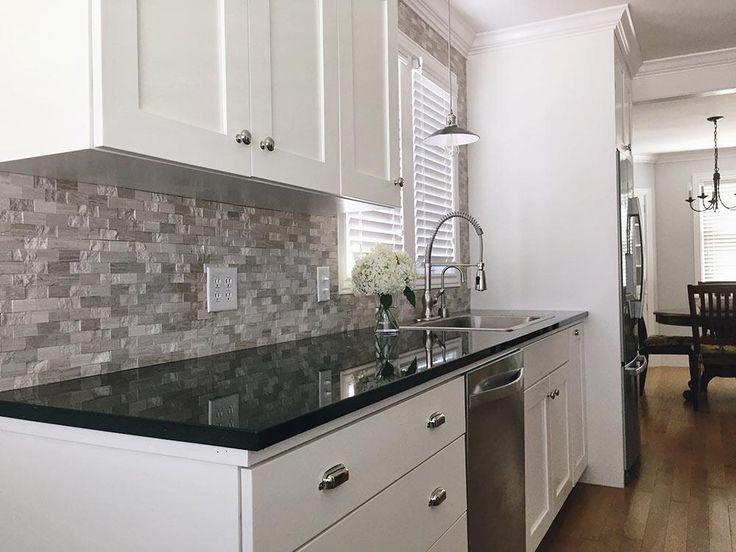 Image Result For White Kitchen Black Countertops