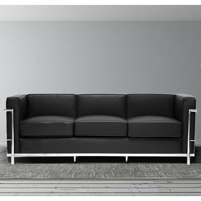 Br Li Unique Block Design With Elegant Piped Edging Sofa Made A Sy Stainless Steel Frame Sleek Black Leather And Match Upholstery