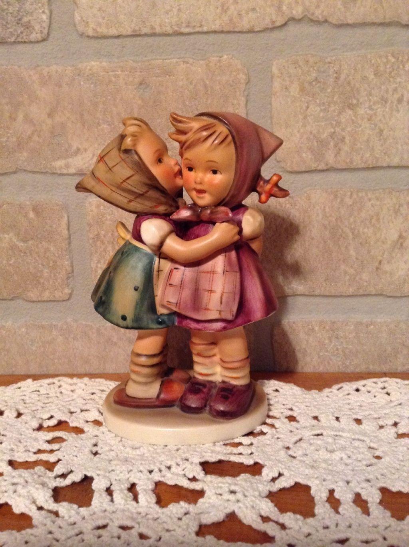 VINTAGE GOEBEL HUMMEL FIGURINE 5 1/4 in # 196/0 TELLING HER SECRET GERMANY TMK 4 picclick.com