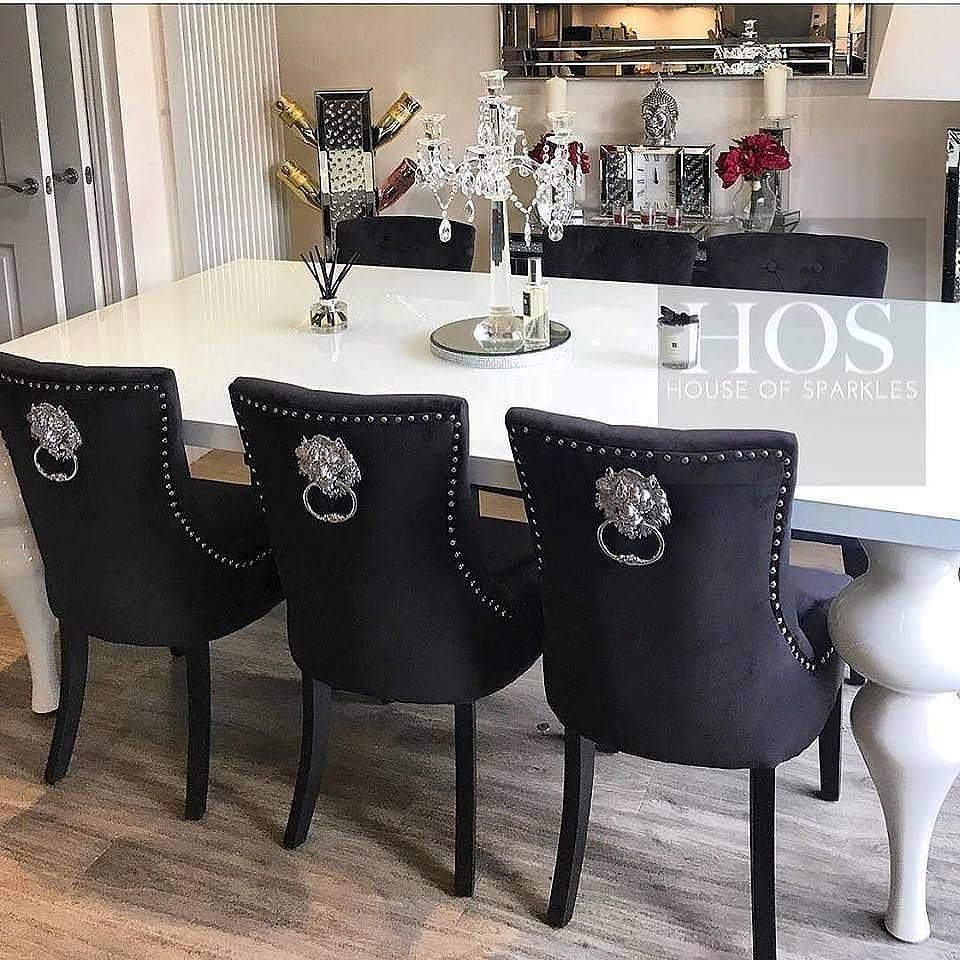 Empire Dining Table With Black Lion Knocker ChairsFor Prices And