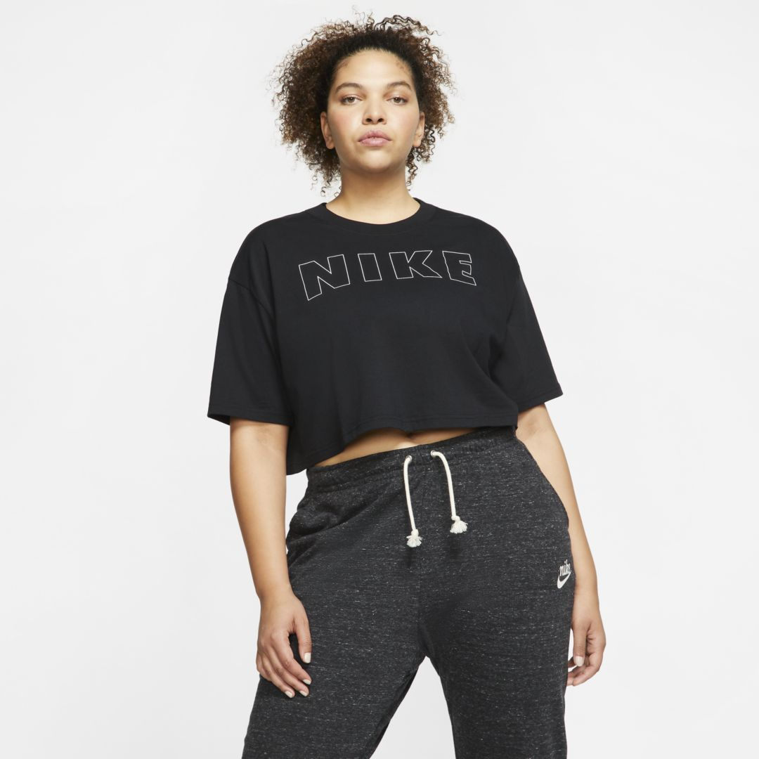 Photo of Nike Air Women's Cropped T-Shirt (Plus Size) (Black)