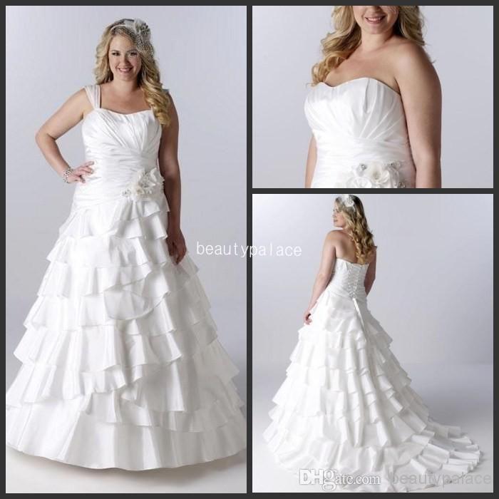 Wholesale Wedding Dresses - Buy Detachable Straps Sweep Train White Tiered Taffeta Wedding Dresses Beads Plus Size Wedding Gowns Bridal Pleats Lace Up Bridal Dress, $142.42   DHgate