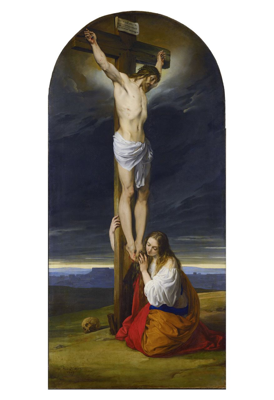 Crucifixion With Mary Magdalene Kneeling And Weeping By Francesco Hayez Print Pictures Of Jesus Christ Catholic Art Mary Magdalene