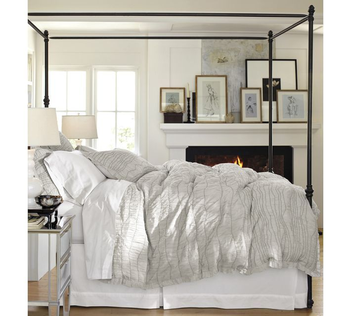 Antonia Canopy Bed from Pottery Barn  sc 1 st  Pinterest & Antonia Metal Canopy Bed Full Aged Bronze finish | Pottery Barn ...