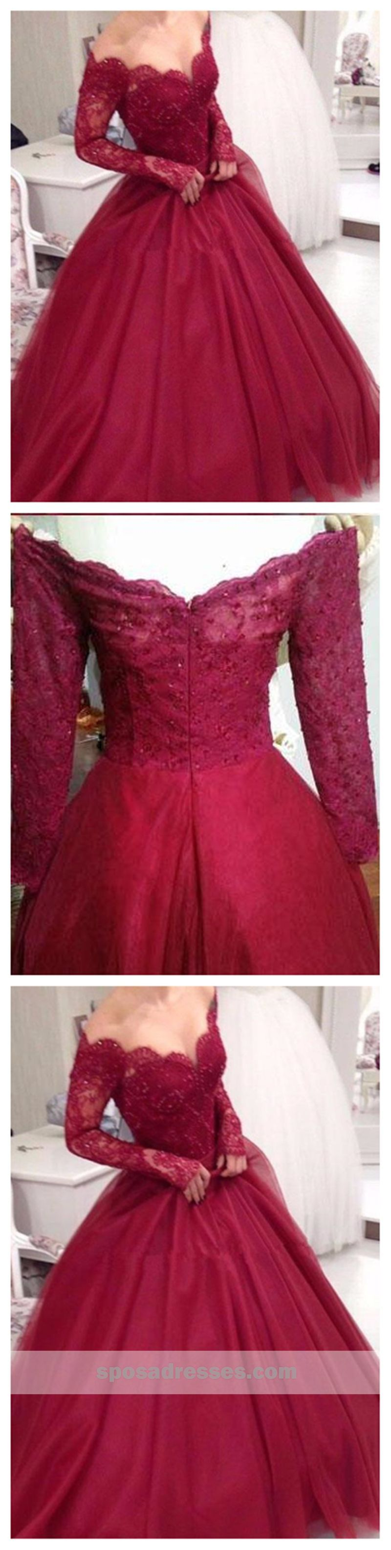 Off shoulder dark red long sleeve lace a line long evening prom