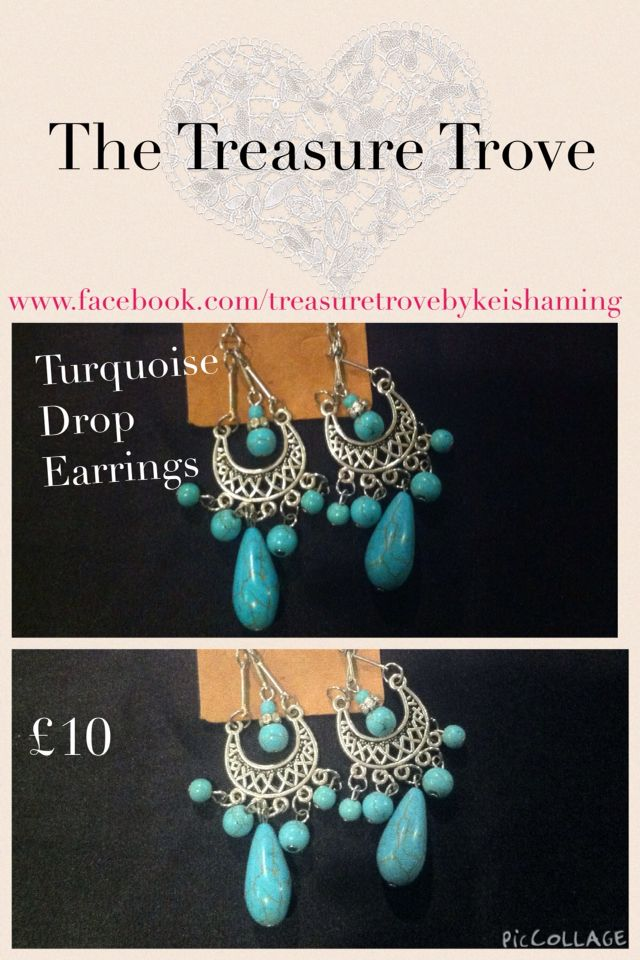 These beautiful turquoise drop earrings a wonderful compliment to an evening outfit email the treasuretrovebykm@gmail.com if you would like to order. Xx