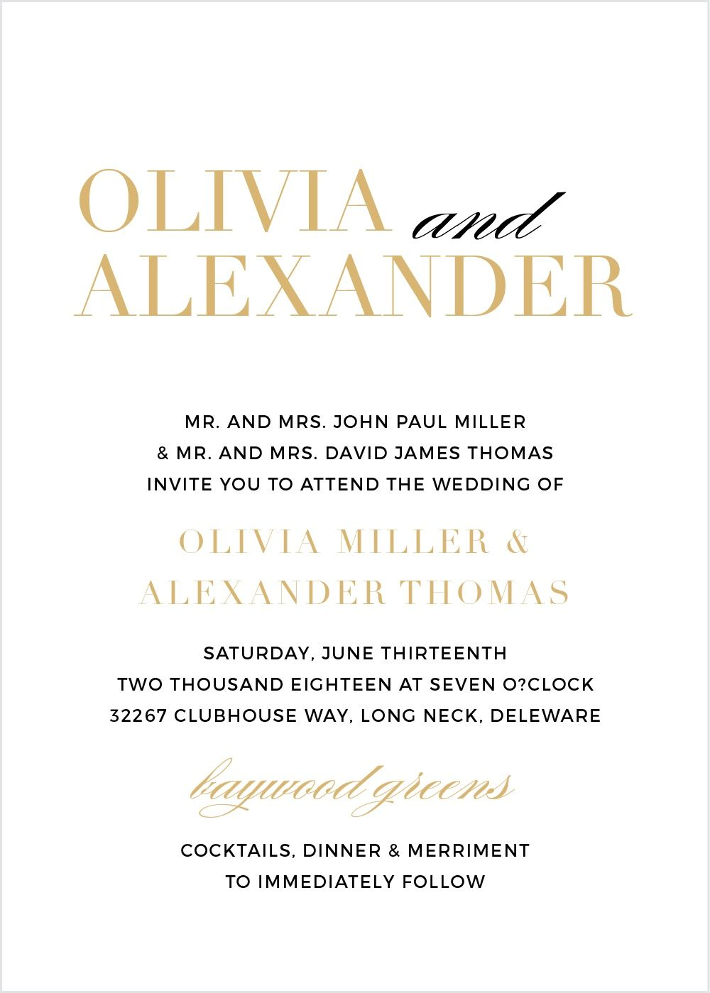The Typography Foil Portrait Wedding Invitations | Wedding ...