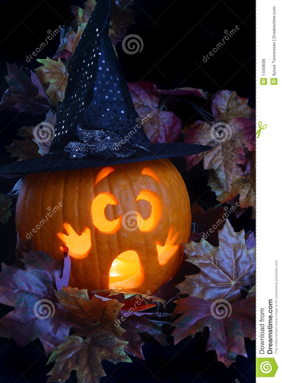 Photo about A frightened jackolantern dressed as a witch in a patch of leaves. Image of decoration, holidays, pumpkin - 1449698 #pumpkindecorating