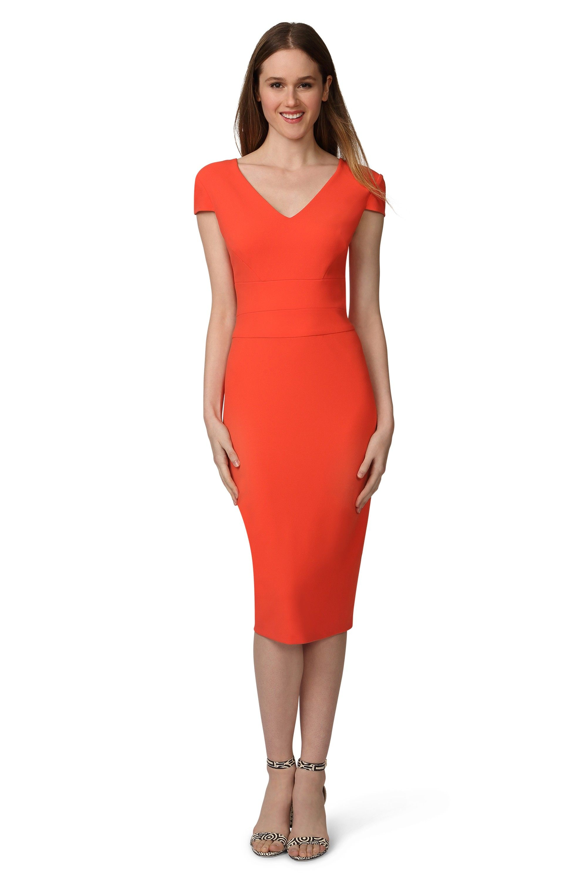 Sheath dresses for wedding guest  Donna Morgan Madison Cap Sleeve Fitted Sheath Dress  SpringSummer
