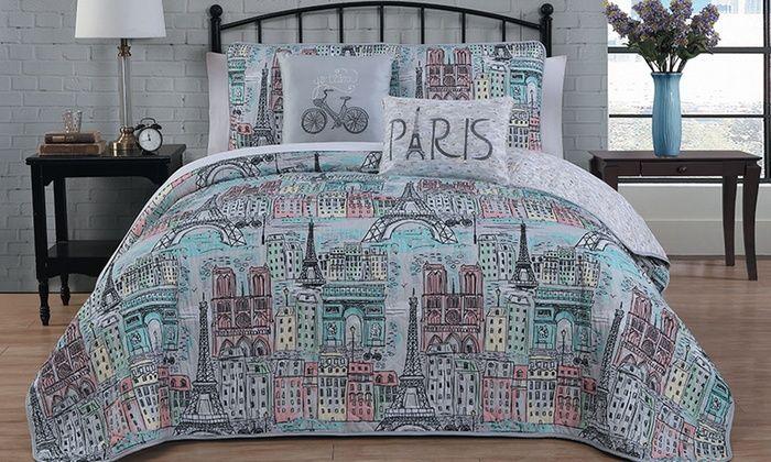 Paris Collection Bed In A Bag Or Printed Quilt Set Paris