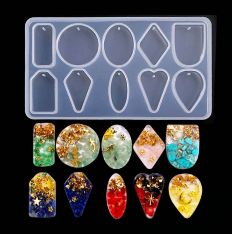 Photo of Pendant Silicone Mold Epoxy Resin Jewelry Mold Necklace Making Craft DIY