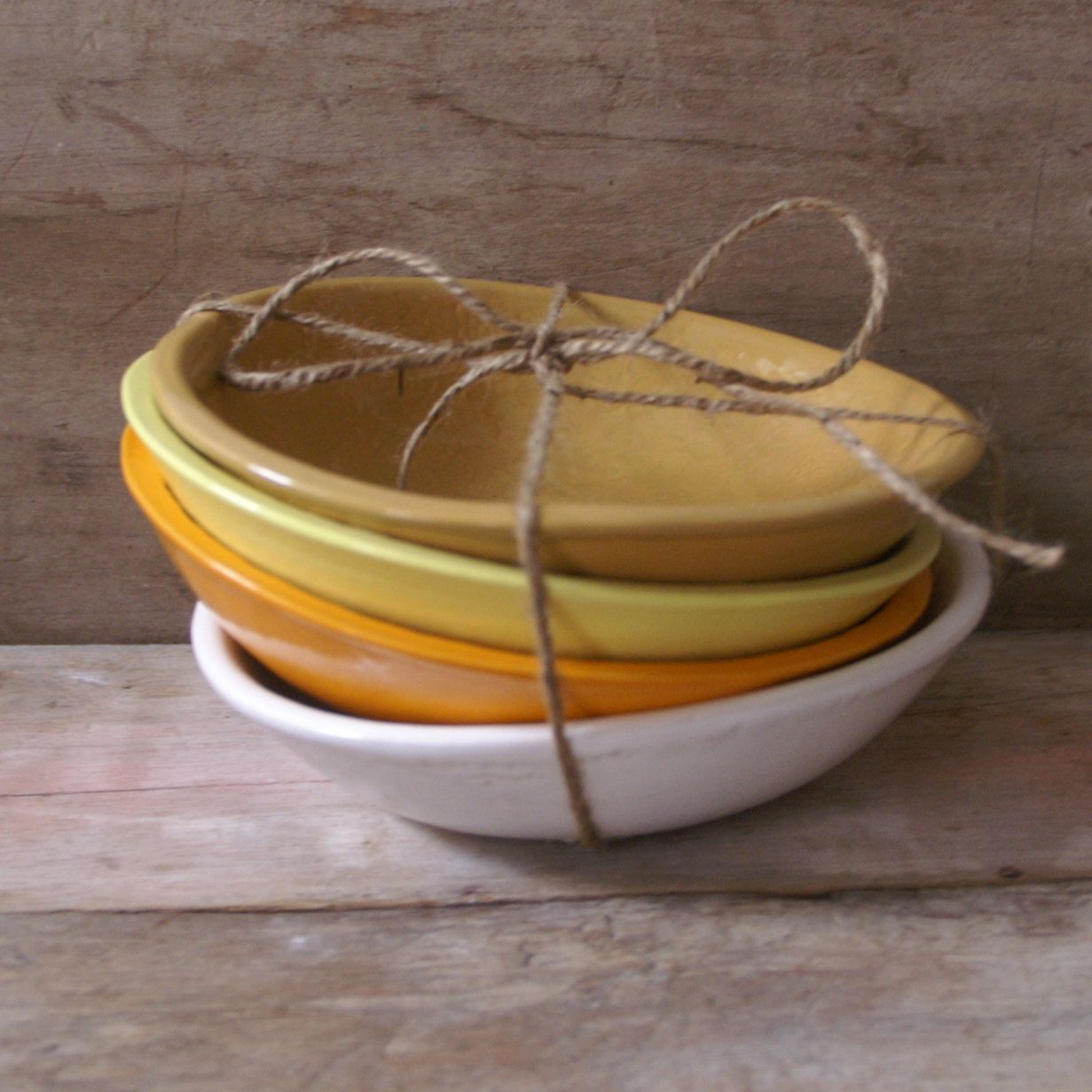 Mustard Bolillo Bowl - large handmade bowl - Wobbly Plates Series. via Etsy.