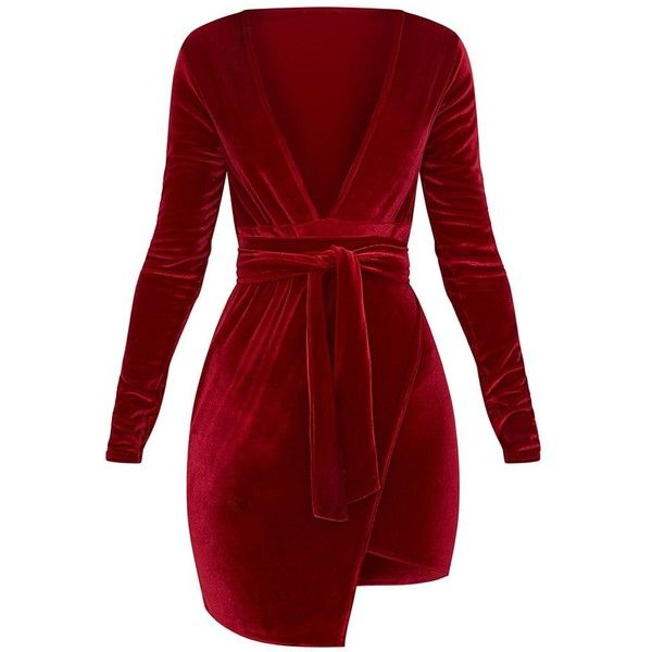 Burgundy Plunge Wrap Detail Long Sleeve Mini Dress ( 27) ❤ liked on  Polyvore featuring dresses fd7c9baf8263