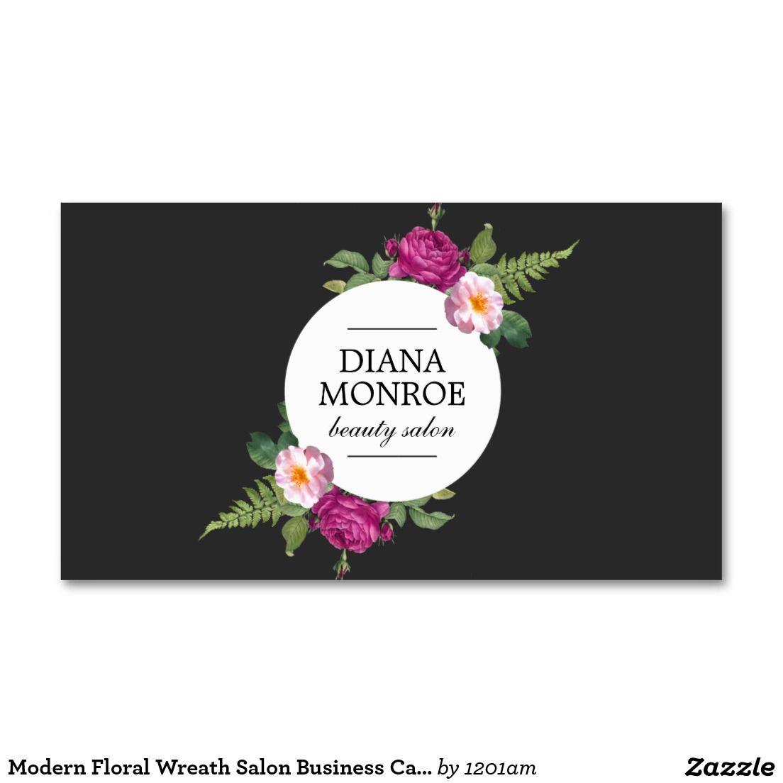 Modern Floral Wreath Salon Business Card   Floral wreath, Card ...