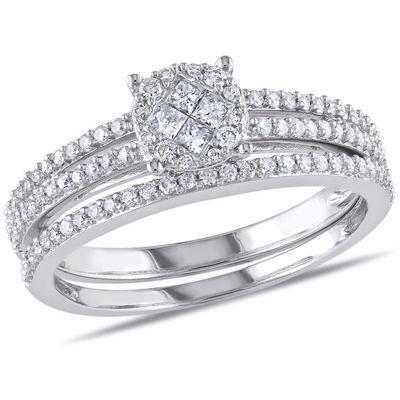 TW Princess Cut Quad Diamond Cluster Bridal Set In 14K