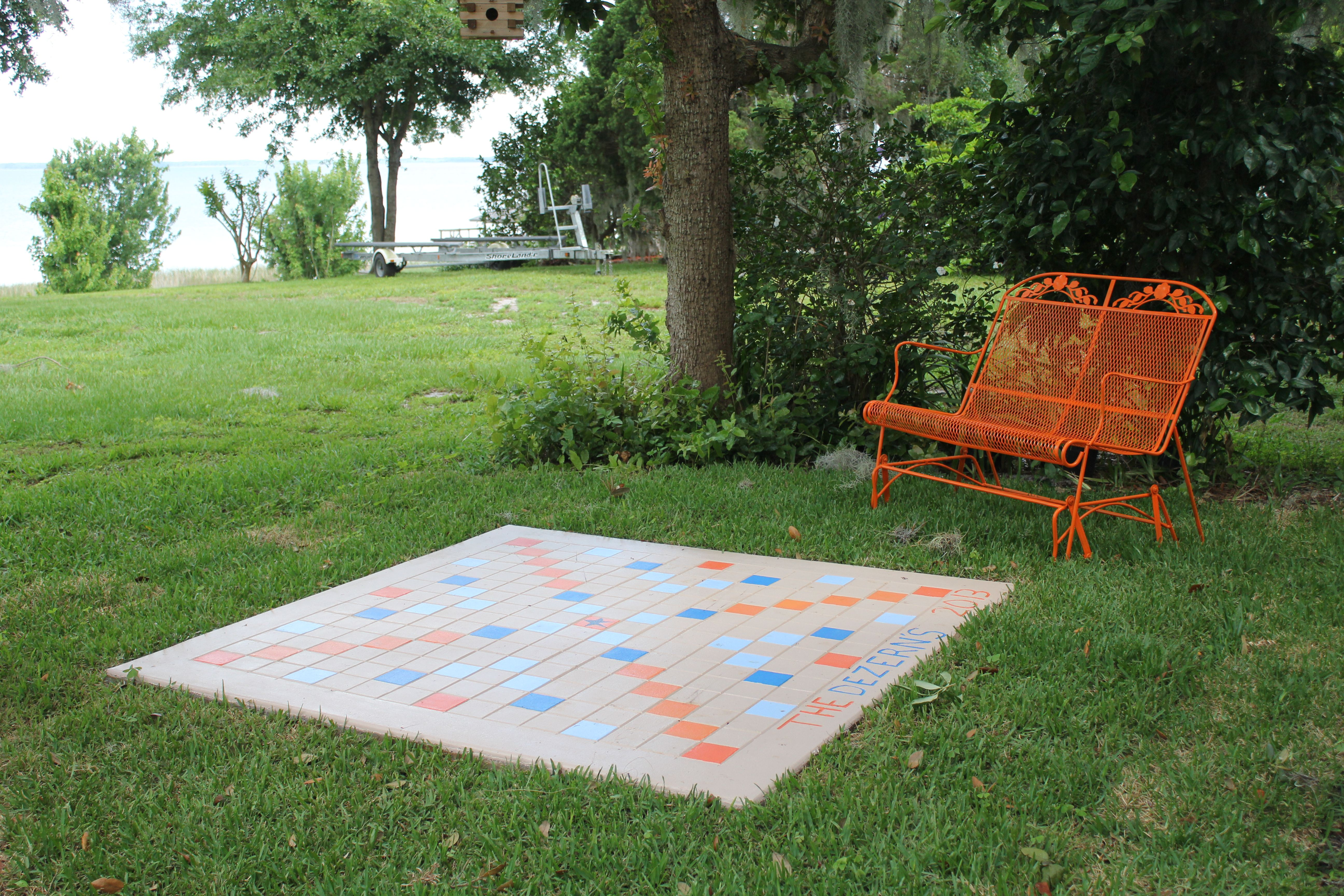 The Newest Addition To The Lake House A Jumbo Sized Outdoor Scrabble Game Board Lake House Outdoor Scrabble Outing Ideas