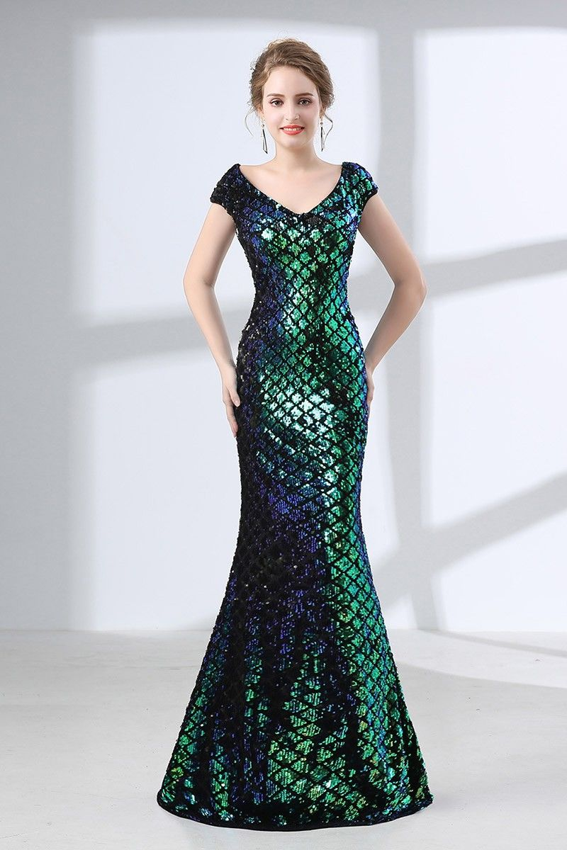 Fitted mermaid sparkly green prom dress with shiny sequins ch