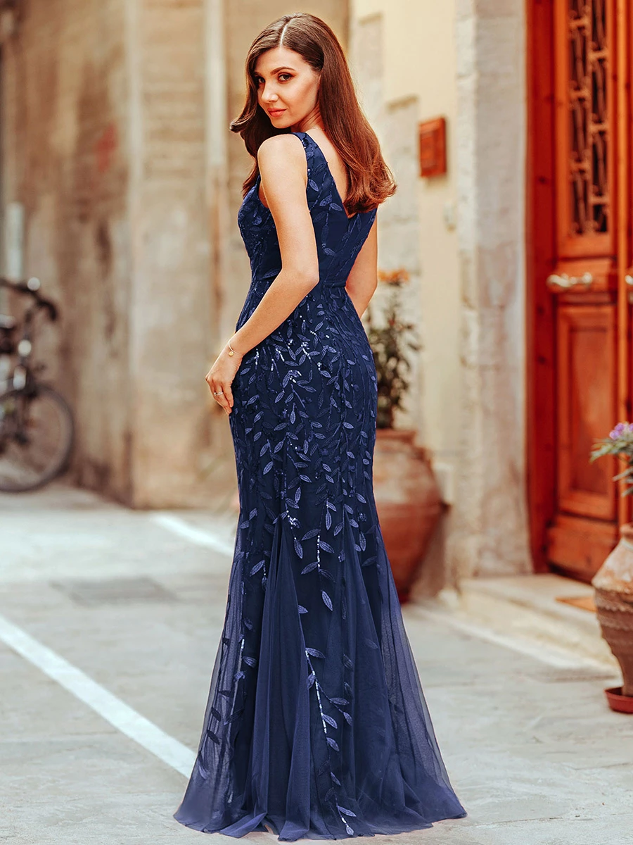 Ever-Pretty US Sequins Double V-neck Evening Dress Mermaid Homecoming Party Gown