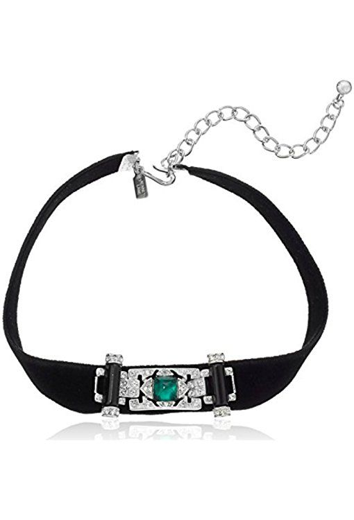 Kenneth Jay Lane Crystal Deco Necklace Black c7CdcTciWM