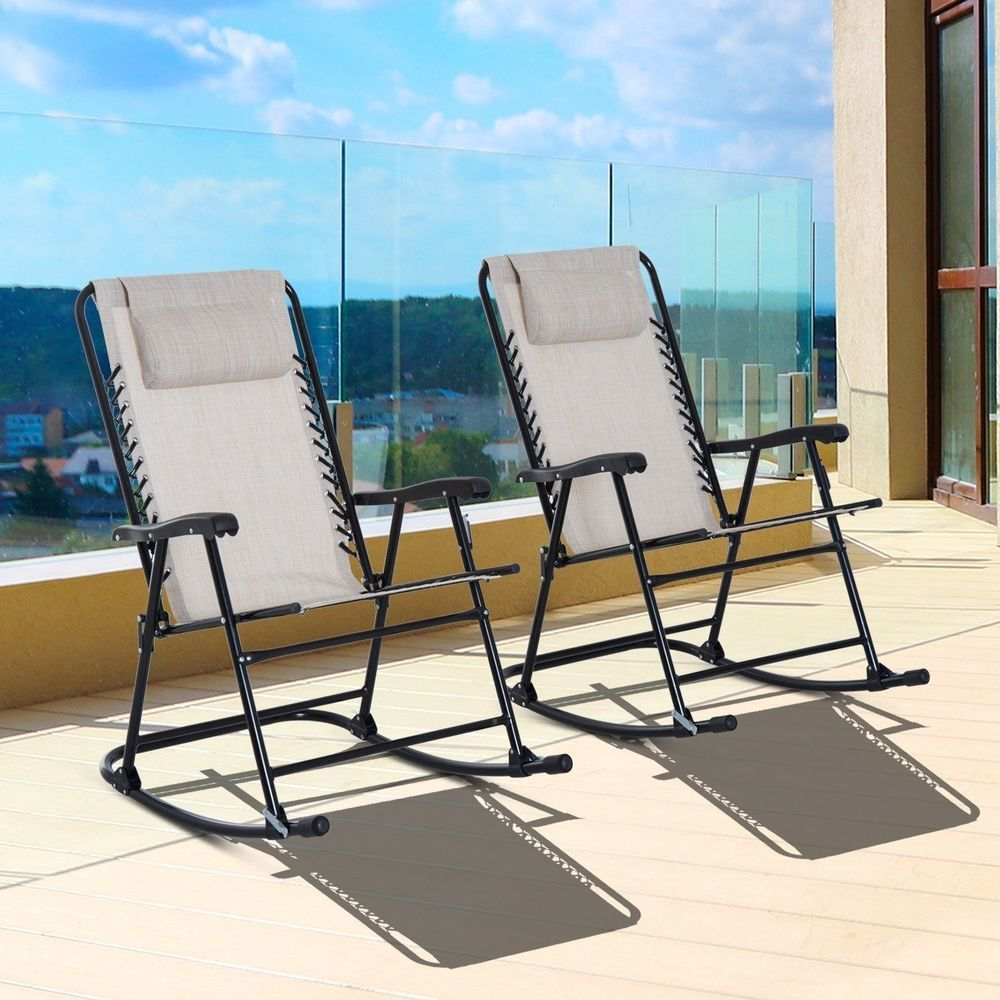 Repair Patio Furniture Mesh Ointment: Folding Rocking Chair 2 Piece Cream White Mesh Lounge