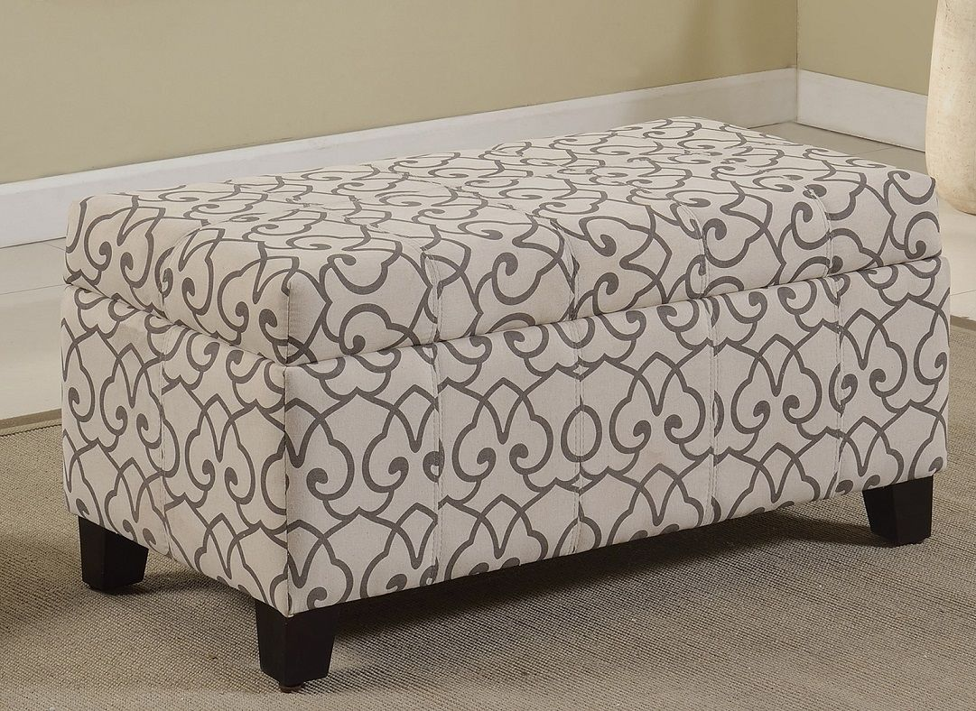 Ottomans Amp Benches Rw 8717 Grey Lattice Patterned