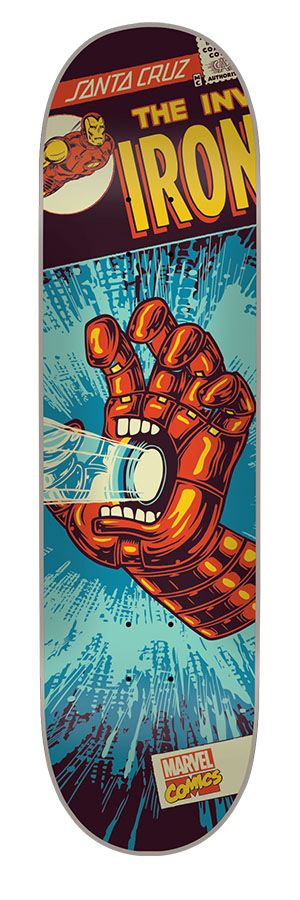 Santacruz 8 0in X 31 6in Marvel Iron Man Hand Deck Skateboard Art Design Skateboard Art Skateboard Artwork