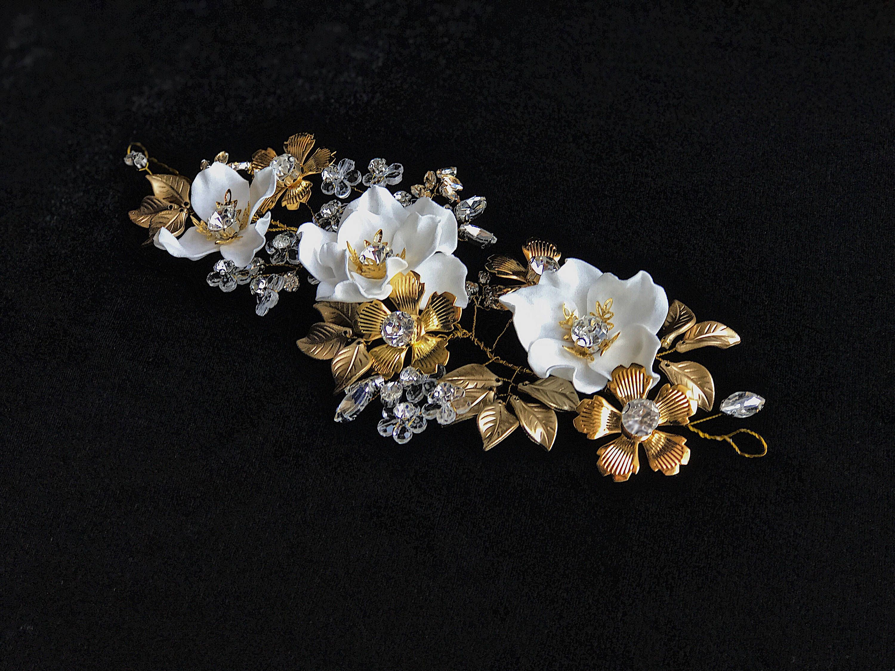 Bridal Headpiece Crystal Hair Piece White Flower Hair Comb Crystals