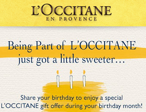FREE LOccitane Gift During Your Birthday Month Sendmesamples