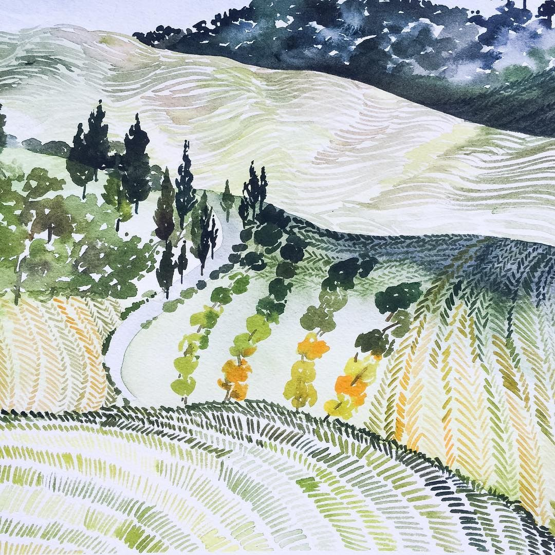 Watercolor Landscape Painting Of Rolling Hills Fields And