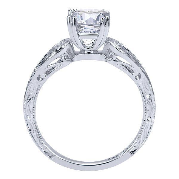 18k White Gold Split Shank Engagement Ring | Gabriel & Co NY | ER11694R4W8JJJ