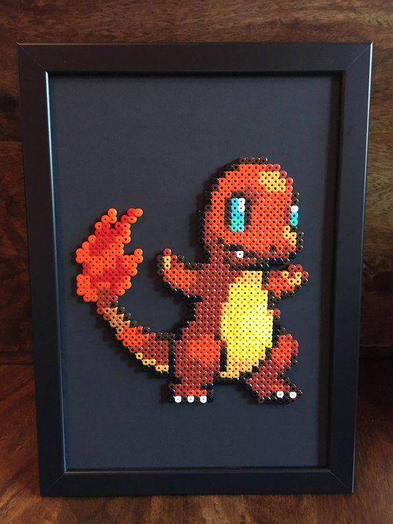Salamèche Ou Dracaufeu Pokemon Pixel Art A4 Encadré Perle