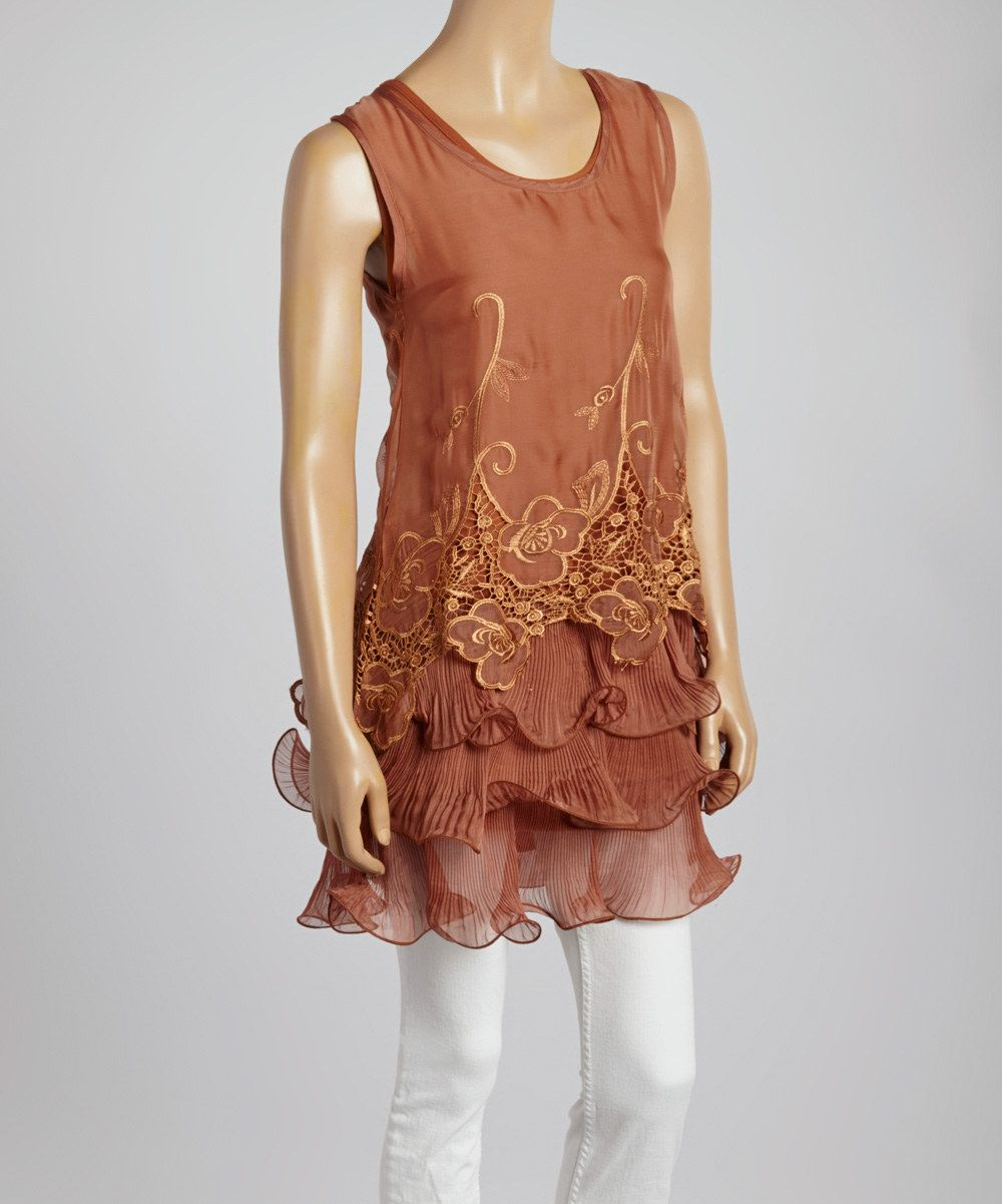 Look at this Brown Floral Lace Silk-Blend Tiered Tunic on #zulily today!