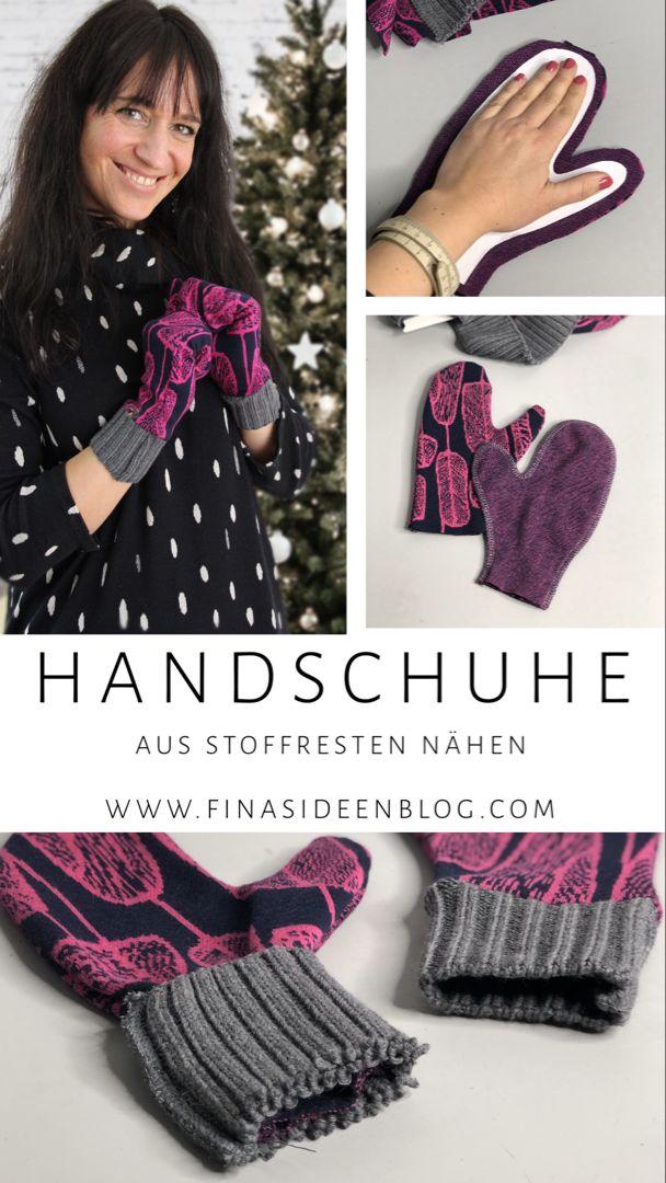 Handschuhe aus Stoffresten nähen- Upcycling Geschenk Idee