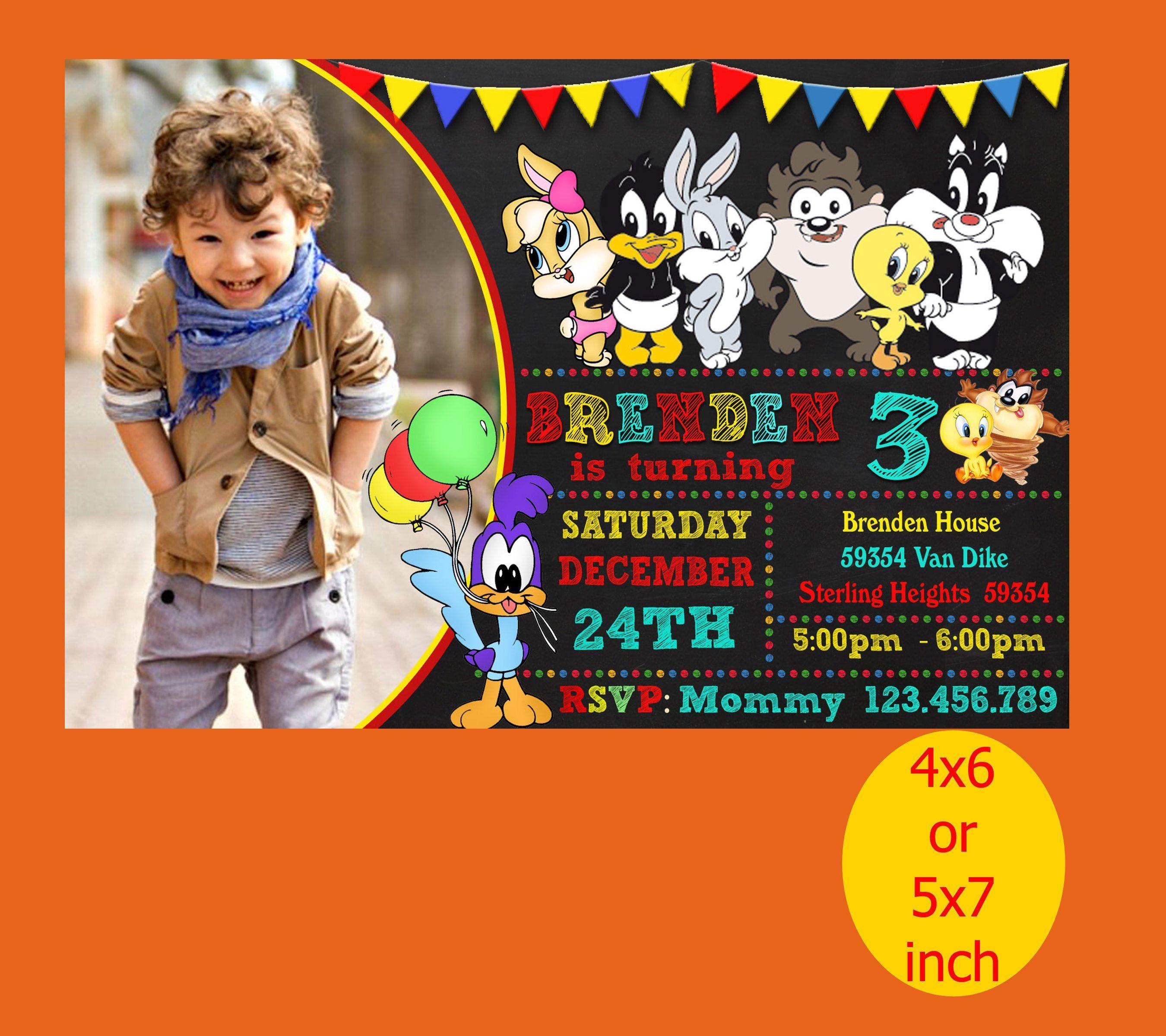 Baby Looney Tunes Birthday Invitation Baby Looney Tunes Invitation