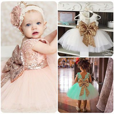 Toddler Baby Girsl Princess Dress Kids Pageant Party Wedding Sequin Tutu Dresses