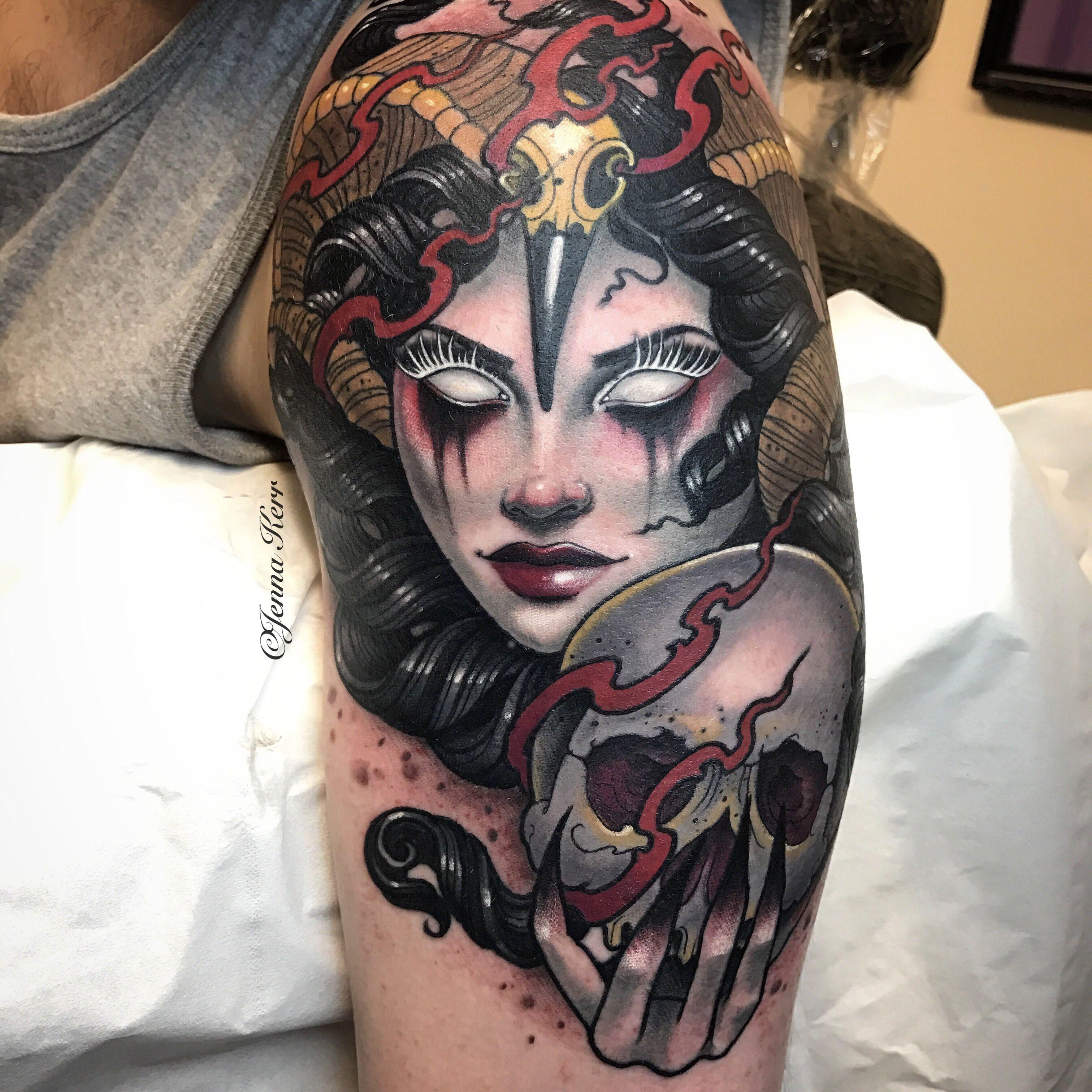 c6ca78ef5c015 Neotrad demon lady, done with #inkjecta and #oztattskincare #jennakerr