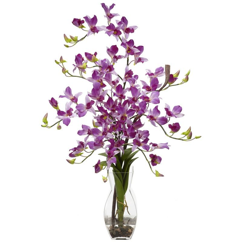 Beautiful purple stand out on this dendrobium orchid silk flower beautiful purple stand out on this dendrobium orchid silk flower arrangement with acrylic water and vase mightylinksfo Gallery