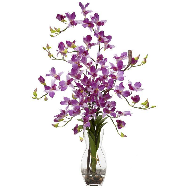 silk flowers arrangements | Dendrobium Purple Silk Flower Arrangement w/Vase [N-1190-PP]
