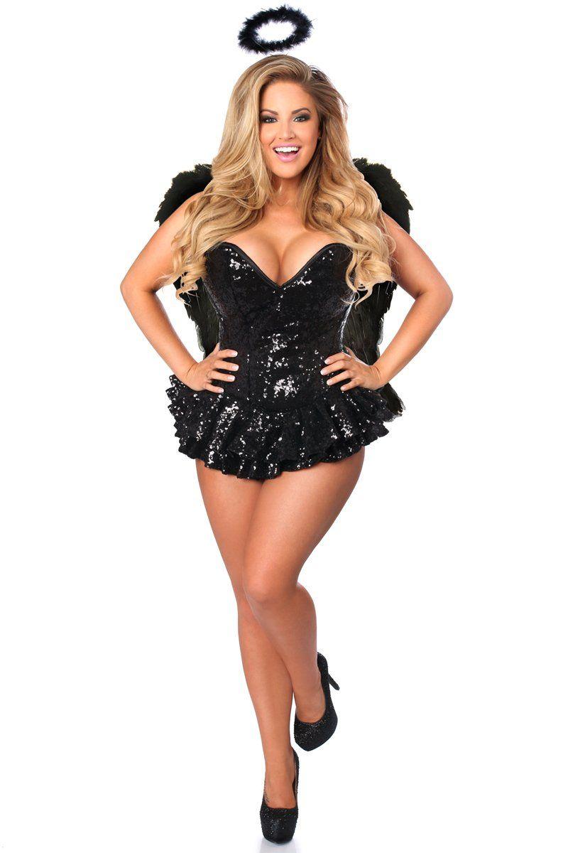 e9a379c238 Halloween Costumes Makeup   Daisy Corsets Womens Top Drawer Premium Sequin  Dark Angel Corset Dress Costume Black Large  halloweencostumes