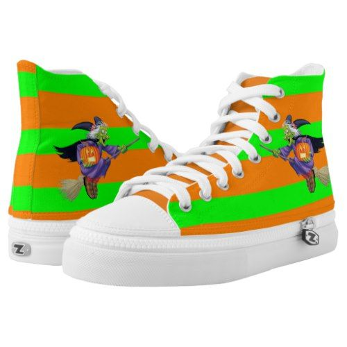 Halloween Green and Orange Stripes High-Top Sneakers