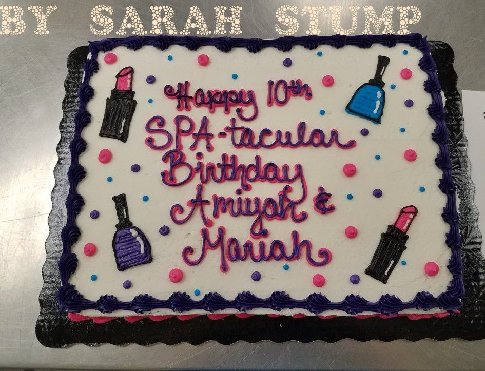 Girly Spa Makeup Theme Sheet Cake Buttercream By Sarah Stump