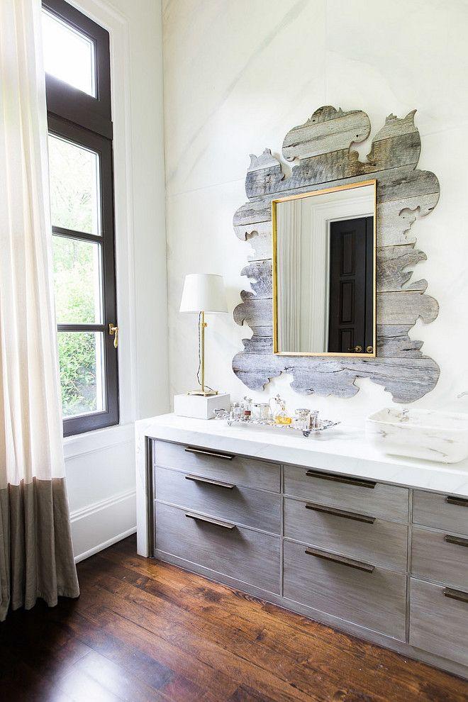 Stunning bathroom featuring hardwood floors gray cabinets - Bathroom storage cabinets floor to ceiling ...