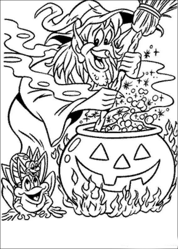 Plansa De Colorat Vrajitoarea Face Vraji Tari De Halloween