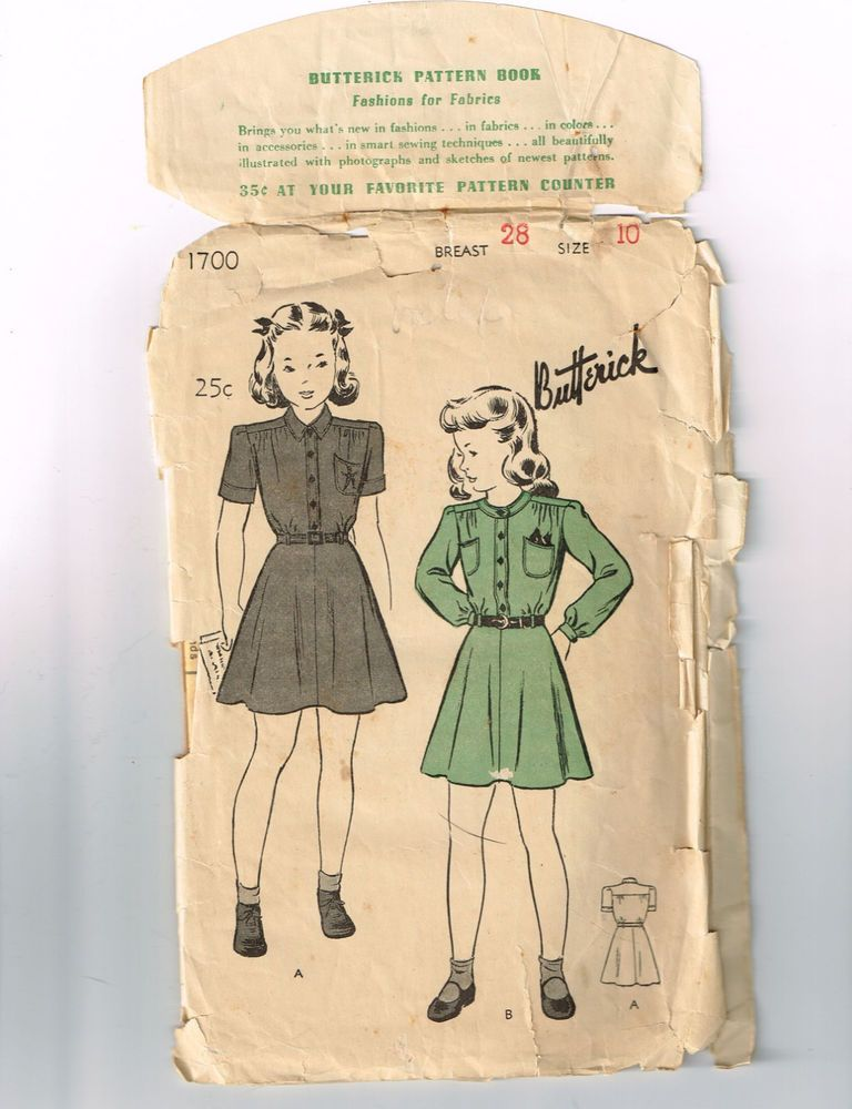 VINTAGE SEWING PATTERN by BUTTERICK. PATTERN #1700. GIRL SCOUT ...