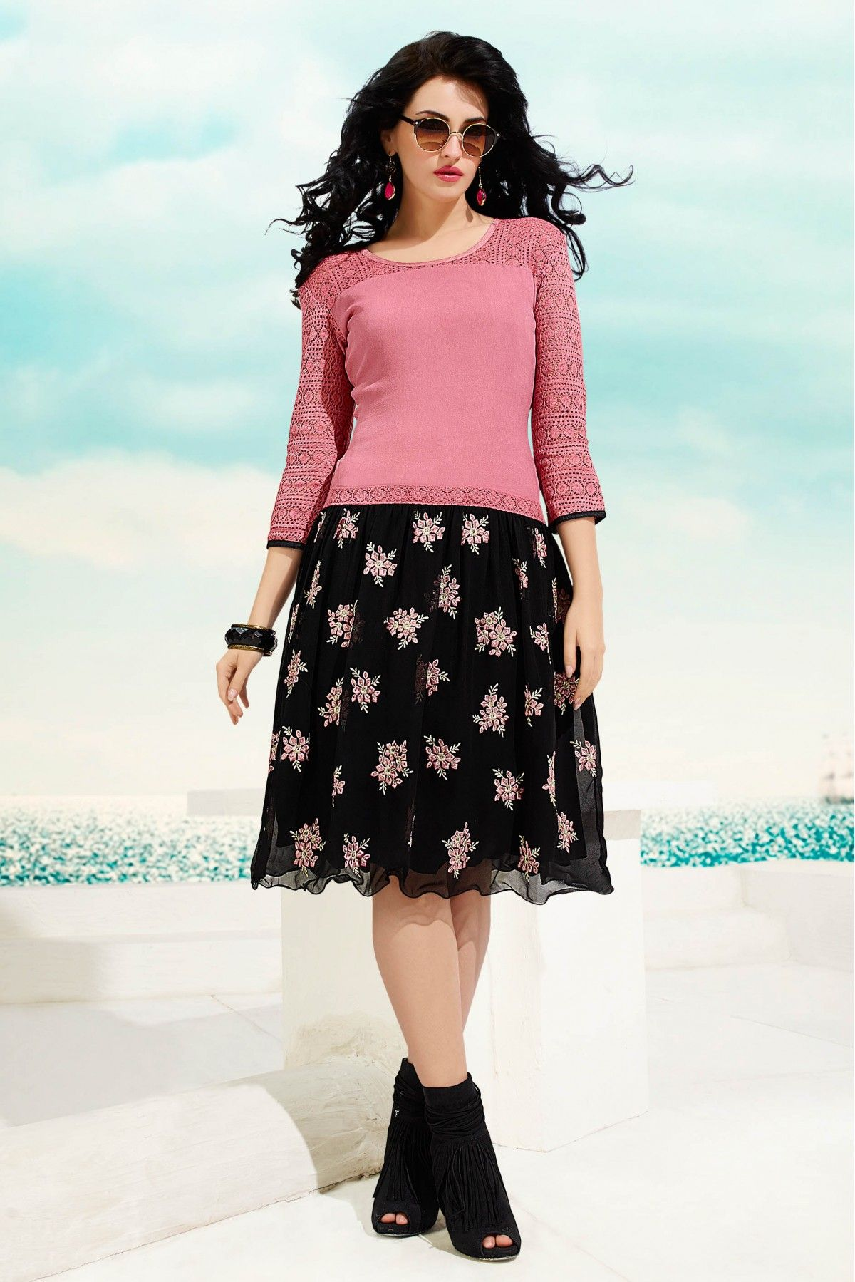591389c444 Georgette Party Wear Kurti in Pink and Black Colour.It is crafted with Embroidery  Design
