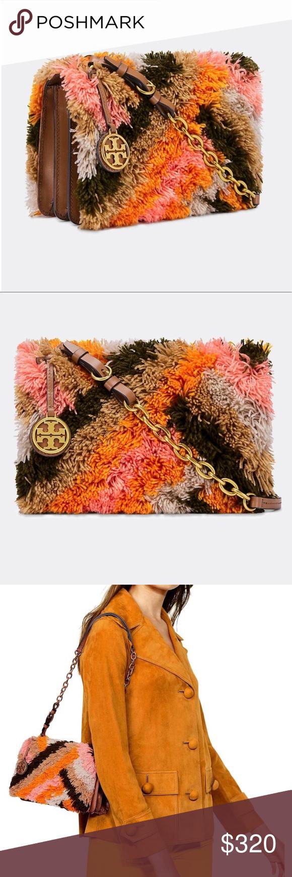 f837692903c NWT Tory Burch Sadie Rug Shoulder Bag Sadie Dark Tiramisu Leather and Yarn Shoulder  Bag New