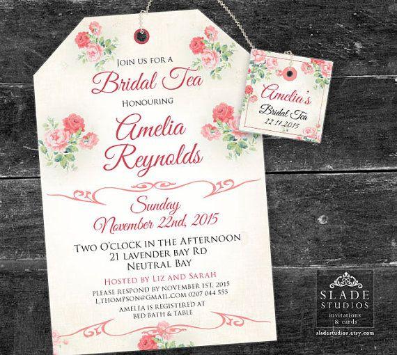 Pink Floral Bridal Tea invitations High Tea traditional tea bag