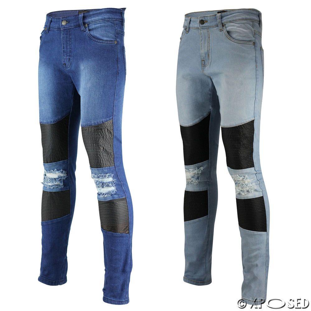 0d45a60fb3ad Mens Blue Skinny Jeans Leather Look Knee Biker Panels Super Stretch Ripped  Denim